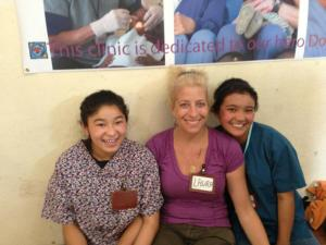 Sonam, Me and Sangmo taking a break at the dental clinic at their school in Boudha, Nepal